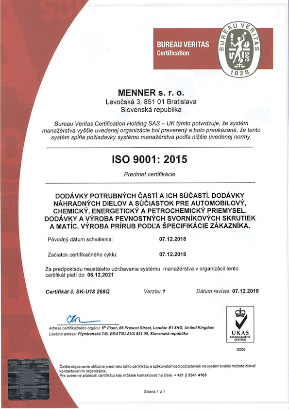 Certifikát ISO 9001 z roku 2015
